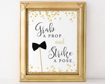 Grab a Prop and Strike a Pose Sign, Photo Booth Sign, Selfie Station Sign, Photo Booth Printable, Wedding Sign, Photo Booth Props