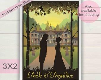 Pride and prejudice book & movie digital poster | Jane Austen gifts | Vintage printable wall art | Elizabeth Bennet, Mr Darcy download print