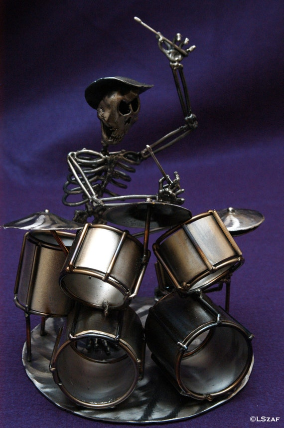 Alternative decor - Drummer - skeleton sculpture - skeleton metal gift - skeleton collection - gift drummer - drum art gift - drum set art