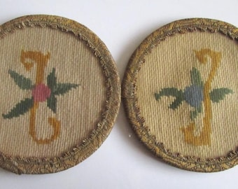 Rare Old Bulgaria 2 pcs Pads Embroidered, and the sides have Tinsel/Art applique