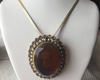 Distressed Vintage Large Cameo Necklace 1/20 14KGF (gold filled)
