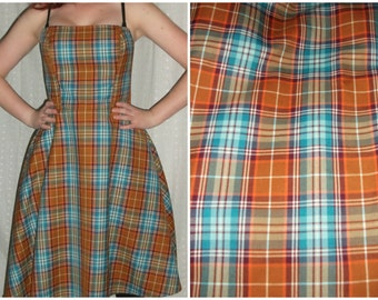 Vintage Turquoise & Orange Plaid Dress, Strapless, Tea Length, Tulle, Retro Prom Gown, Fall Dance