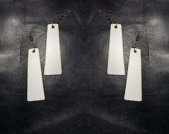 Handmade leather statement white earrings