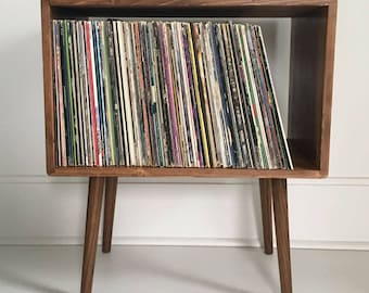 """36"""" long Mid Century Record Stand Storage Table - MADE TO ORDER 90 days"""
