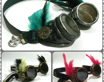 Made to Order Steampunk Goggles for Wedding or special event: ornate goggles with personalised colours and charms, made in uk, FREE P&P uk