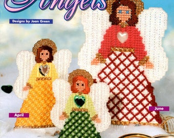 Birthstone Angels 12 Plastic Canvas Patterns in Jewel Tones Needlepoint Embroidery Craft Pattern Leaflet 181024