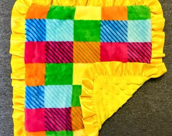 Bright/Yellow Checkered Minky Baby Blanket