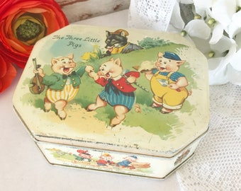 Charming Antique Three Little Pigs Tin Litho Box, fairy tale, Big Bad Wolf, Decorative Décor, nursery kitchen décor, storage, biscuit, pink