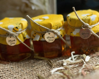 Honey Jar Favors- Wedding Favors - Baby Shower Favors- Bumble Bee Party Favors- Winnie the Pooh Party