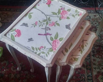 Handpainted decoupaged shabby chic nest of three vintage tables...