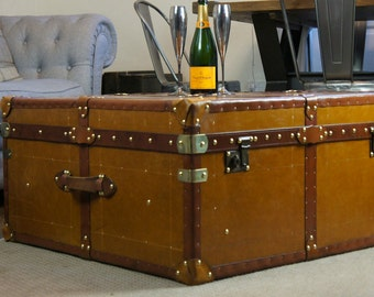 Huge English Leather Coffee Table Trunk