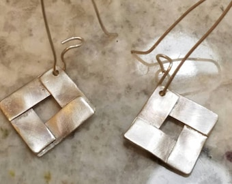 Abstract sterling silver dangle earrings