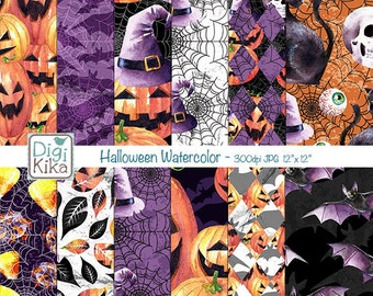 Halloween Watercolor Digital Papers, Autumn, Pumpkin, Bat, Black Cat, Witch Hat, Halloween Paper, Thanksgiving, Halloween Digital Papers
