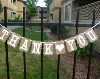 Thank You Banner - Great For Photo Prop, Wedding Or Reception- can be personalized with heart in your colors