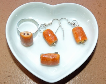 """Pain au chocolat"" jewelry made of polymer clay"