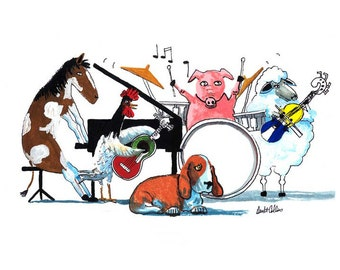 Animal Painting pig PRINT  art Music musical modern Animal band Funny horse rooster and sheep  Giclee