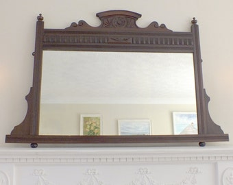 Antique Mirror Victorian Mirror Overmantle mirror Mahogany Framed mirror Carved Mirror  M111