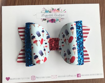 "4th of july popsicle faux leather and glitter fabric 4"" layered Hair Bow Headband"