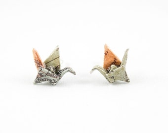 Up-cycled Vintage Map Origami Crane Earring, Origami Jewelry, Origami Earrings, Paper Jewelry, Travel Earrings with Sterling Silver Studs