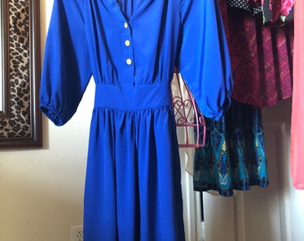 Vintage Royal Blue Dress