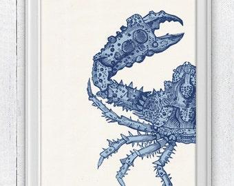 The big crab sea life print - Wall decor poster - Modern coastal homes SAS007