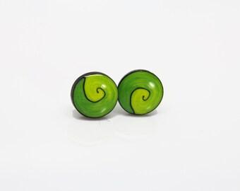 Green studs - earrings - Green spiral studs - post earrings -Hippie  earrings - Tribe - boho - African earrings - posts - studs - jewery