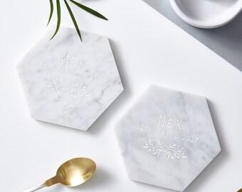 Botanical Personalised Marble Coaster