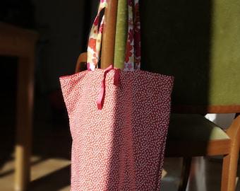 Tote bag-printed cotton fabric orange rice-grain handles fabric cotton print floral