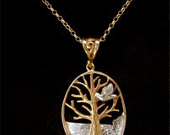 Tree of Life with Dove Pendant in 24ct Gold on Sterling Silver.