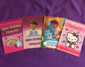 12 Personalized Coloring Books, Party Favors - Doc McStuffins, Sofia the First, Hello Kitty