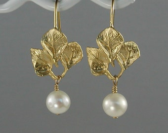 White Pearl with Gold Leaves Earrings