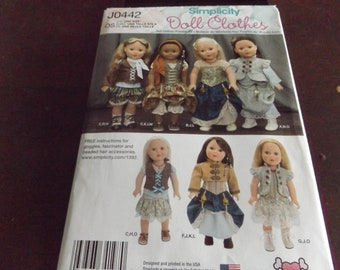 Doll Clothes Pattern Simplicity J0442