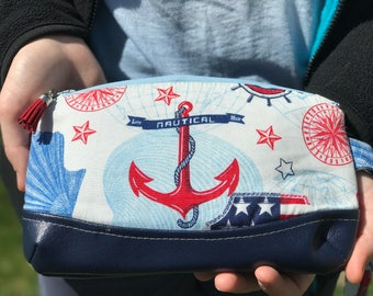 Anchor Clutch, Anchor Wristlet, Nautical Clutch , Nautical Wristlet with Navy Vegan Faux Leather Bottom - READY TO SHIP