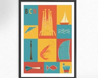 Barcelona prints poster Spain Art print BCN Gaudi arquitecture poster art wall decor poster Artwork Gift  home decor (051)