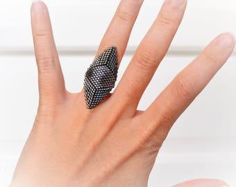 Black woven with Miyuki Delicas beads black silver ring