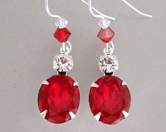 Ruby red earrings, Christmas gift for her, sparkly red vintage glass, Swarovski crystal, red glass earrings, red bridal earrings, bridesmaid