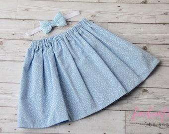 SALE 5-6 Years, Girl's Skirt, Blue Skirt, Floral Skirt, Sale Skirt, Girl's Floral Skirt, Blue Girl's Skirt, Skirt Set