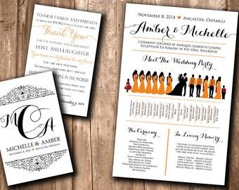 Same Sex Wedding Silhouette Program - Wedding Silhouette Bridal Party - Meet the Bridal Party Program Fan Printable YOU print or WE print