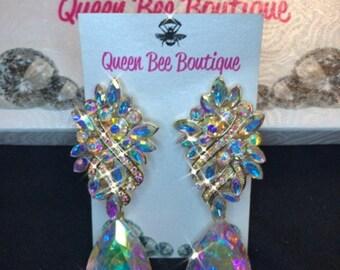 AB Cluster Teardrop Chandelier Earrings