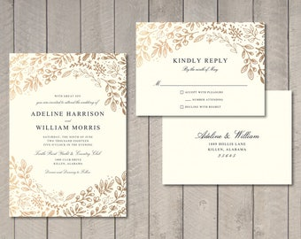 Gold Floral Wedding Invitation, RSVP Card (Printable) by Vintage Sweet