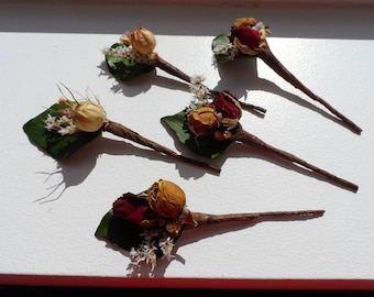 Dried flower wired hair pins - set of 5