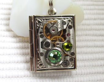 Steampunk book locket necklace vintage watch  movement Swarovski crystals Birthday Gift for Her silver locket photo locket Womens gift ideas