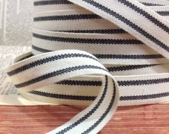 ticking black and ecru striped cotton ribbon