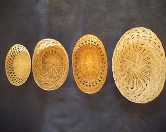 4 Vintage Oval Woven Baskets ~ Graduated Sizes ~ Farm House Decor ~ Jungalow ~ BOHO ~ Wall hanging