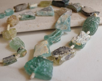 """Ancient Roman Glass Beads- 18"""" Strand- Glass Fragments- Afghanistan Beads- Bactrian Kingdom Glass (1060-RB)"""