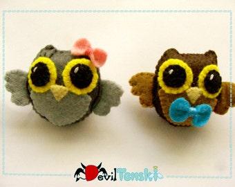 Brooch Owl Felt Kawaii