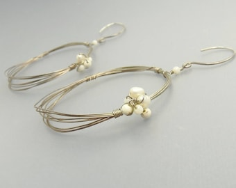 Sterling Silver Wire Wrapped Seashell & Pearl Earrings Wedding Bridal Jewelry