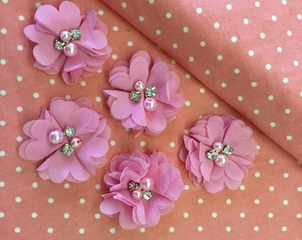 "2.5"" Bubblegum Pink Chiffon Flower with Pearl and Rhinestone Center set of 5"