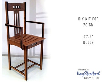 """ARMCHAIR for 70 cm 27.5"""" doll PRE-ORDER diy doll furniture kit dollhouse furniture self assembly laser cut unpainted flatpack seat bjd chair"""