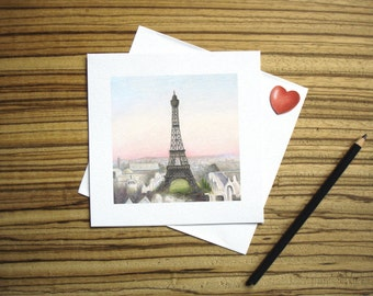 Eiffel Tower Drawing 5 Inch Square Blank Card by SBMathieu